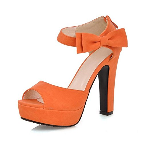 Good-memories New Summer Peep Toe Ankle Strap Orange Sweet Thick high Heel Sandals Platform Lady Women Shoes Size 31-43PA008