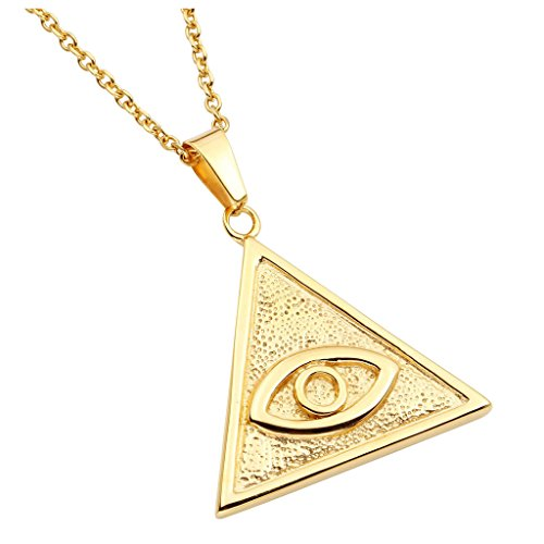 Zysta Gold Eye of Providence Triagnle Pyramid All Seeing Eye Pedant Charms Evil Eyes Stainless Steel Necklace with 24inches Chain by Zysta