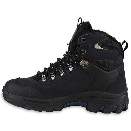 Stiefelparadies Herren Outdoor Boots Gefütterte Winter Schuhe Bequem Profil Sohle Flandell Dunkelblau