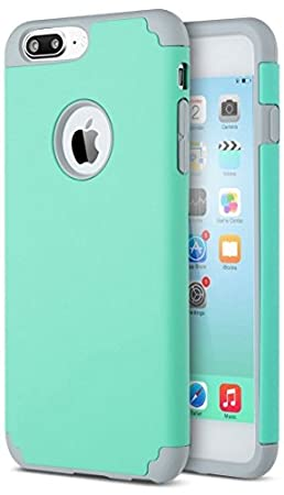iPhone 7 Plus Case, [5.5 Inch], HLCT Slim Fit Thin , Soft Interior Silicone Bumper & Hard PC Back, Shock-Absorption Hybrid Dual-Layer Cover (Green)