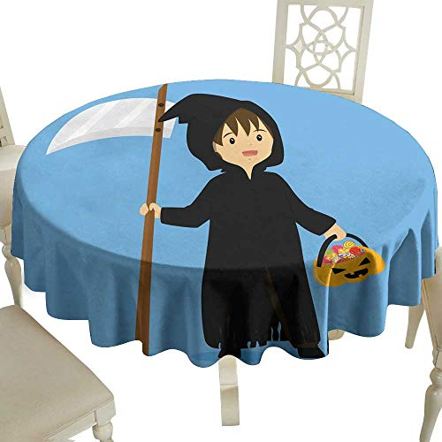 (WinfreyDecor Waterproof Tablecloth Halloween Grim Reaper Costume Vector Great for Buffet Table)