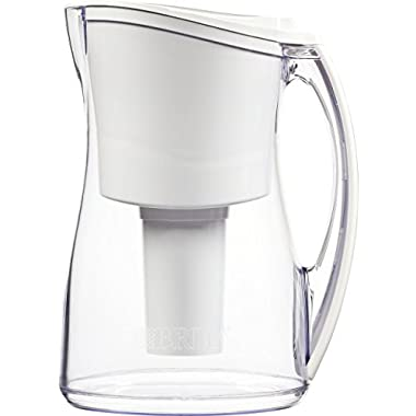 Brita 8 Cup Marina BPA Free Water Pitcher with 1 Filter, White