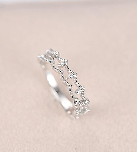 Solid 14k White Gold Filigree Diamond Art Deco Wedding Band Antique Unique Milgrain Bridal Engagement Ring Stacking Ring Half Eternity 2 Layer Matching Band Anniversary Gift for Her (Band Box Filigree Jewelry)