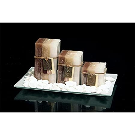 new gift set with 3 scented aromatic mood wax candles glass plate
