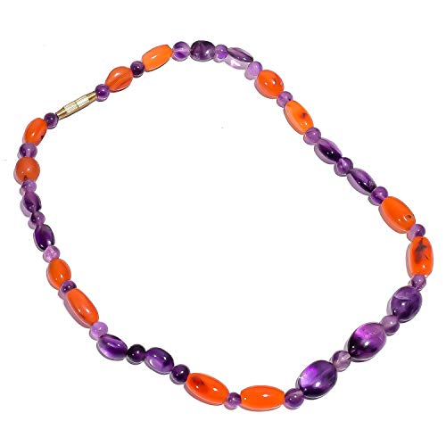 Carnelian Barrel Beads - kanta incorporation Natural Amethyst Carnelian Gemstone Beads Barrel Clasp Necklace 18