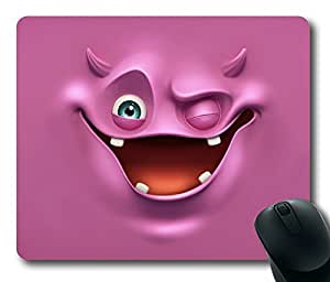 Rectangle mouse pad Diy Design Lovely Purple Funny Face