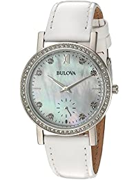 Women's 96L245 Swarovski Crystal White Strap Watch