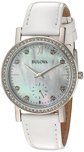 Bulova Women's 96L245 Swarovski Crystal White Strap Watch Bulova Ladies Crystal Bezel