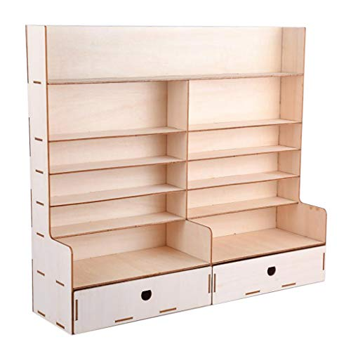 CUTICATE Wood Paint Rack Shelf Pigment Ink Bottles Organizer Storage Stand Holder w/ Cabinet, Good Stability and Table Rack.