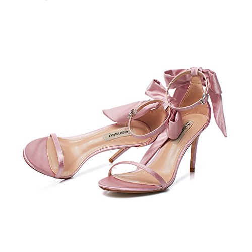 with heels casual 5cm sexy Pink high student shoes 36 Size bows Women fine shoes 8 sandals Champagne Color XznRBnx