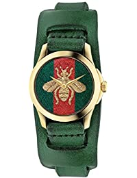 G-Timeless Red and Green Nylon Dial Ladies Leather Watch YA126545