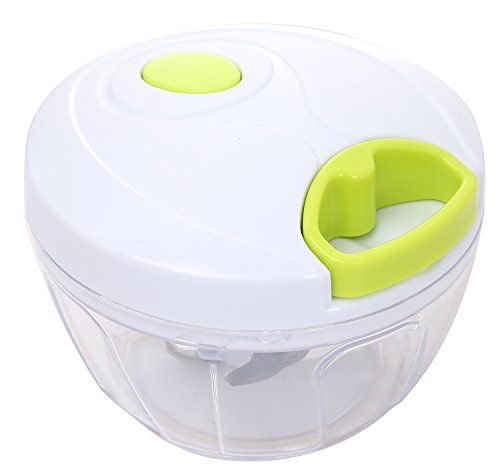 Migecon Manual Chopper Vegetable Pull Dicer with 3 Blades Powerful Food Processor Apply to Onion Garlic Nuts Herbs for Salsa Salad Pesto Coleslaw Puree in Kitchen or Camping Use 3 Cups Capacity Green