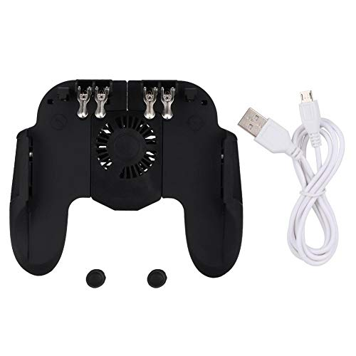 Mobile Game Controller for PUBG, Built-in Cooling Fan Heat Dissipation Function, Game Trigger Joystick Aim Auxiliary Button Gamepad Shoot Shooter Sensitive Auxiliary (Heat Mobile)