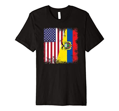 Half Ecuadorean Flag T-Shirt | Vintage Ecuador USA Gift