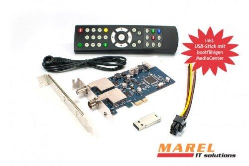 DVBSky T9580 PCIe Karte mit 1x DVB-S2 und 1x DVB-T2 / DVB-C Tuner, keine CD stattdessen partitionierter USB Stick mit Windows Software inklusive bootfähigem Linux Media Center