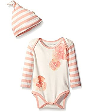 Girls' Organic Poppy Floral Long Sleeve Bodysuit and Hat