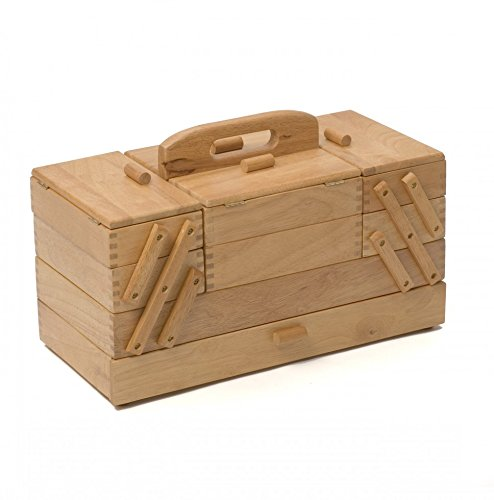 Grande boîte à couture en bois clair Cantilever, 4étages Hobby and Gift