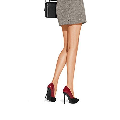 Donne Tacco Alto Hyun Volte Singolo Lacci Delle Scarpe 10.4cm Raso Rosso Con Le Scarpe Di Corrispondenza Dei Colori Multa
