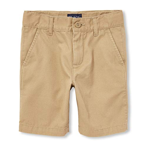 Boys Flat Front Shorts - The Children's Place Boys' Big' Uniform Chino Shorts, Flax, 8