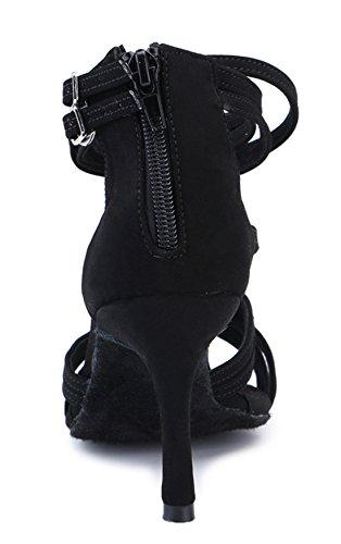 Tda Femmes Sexy Cheville Sangle Stiletto Talon Suede Zippers Salle De Bal Danse Latine Chaussures Sandales De Mariage Du Soir Noir-6.5cm Talon