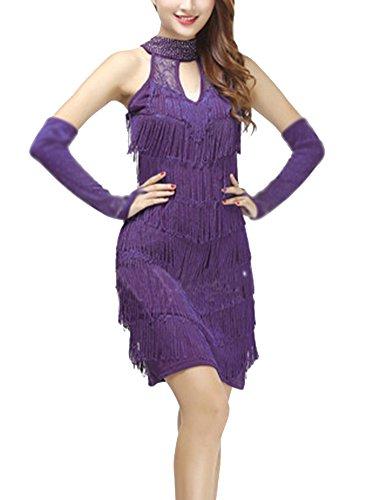 Vestidos Mujer Lentejuela Ropa Latino Danza Borla Latina Salsa Funcionamiento Baile Morado YqYRw1xr