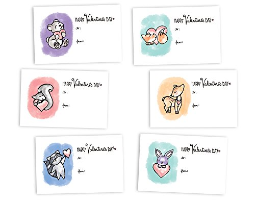 Cute Animals Classroom Valentine's Day Exchange Cards - 48 Cards