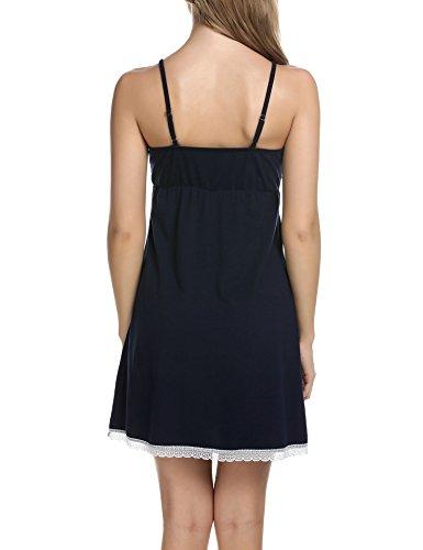 Teamyy Ropa de dormir de encaje vestido de dormir sin mangas pijama de las mujeres Azul oscuro