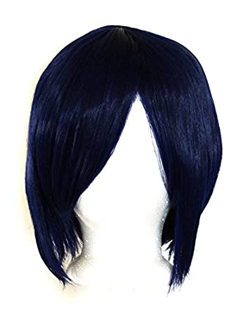 11/'/' Short Straight Layered Midnight Blue Synthetic Cosplay Wig NEW