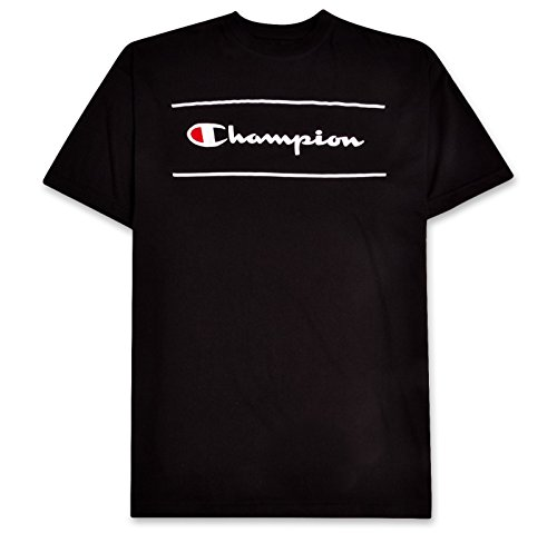 (Champion Mens Big & Tall Short Sleeve Printed Framed Script Logo Tee Rich Black 2X)