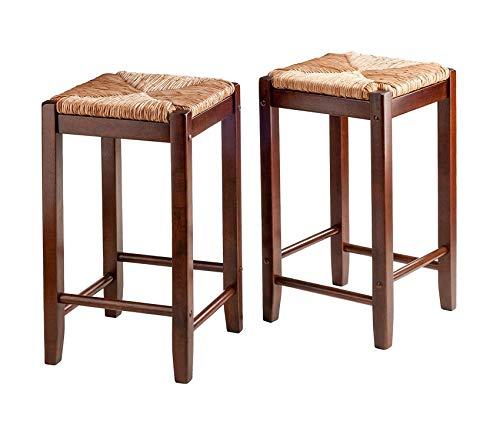 Winsоmе Wооd Deluxe Premium Collection 2 Piece Bar Stools Rush Seat Kaden Set Walnut Decor Comfy Living Furniture
