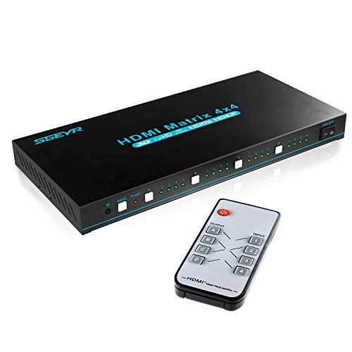 HDMI Matrix, 4x4 HDMI True Matrix Switcher 4K HDMI Switch with IR Remote Control Support Ultra HD HDMI 1.4 4Kx2K 1080P -