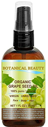 ORGANIC GRAPE SEED Oil. 100% Pure / Natural / Undiluted /Certified Organic Cold Pressed Carrier Oil for Skin, Hair, Massage and Nail Care. Make Grape Seed Oil