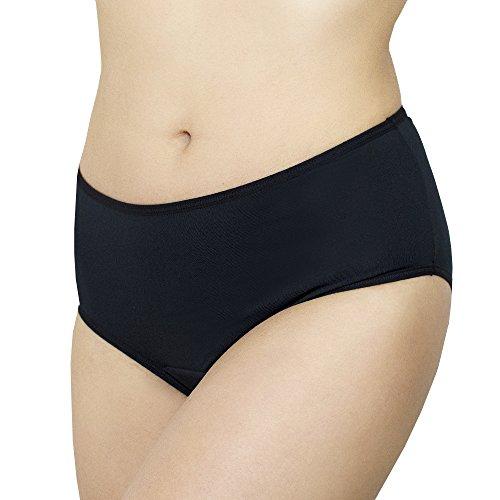 Confi Period Panties - Odor Control and Waterproof Underwear (Large, Black)