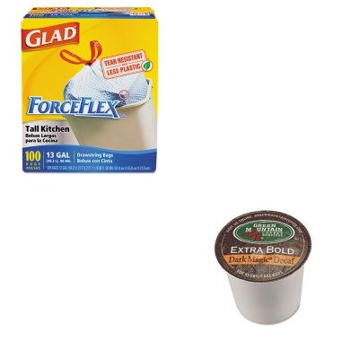 KITCOX70427GMT4067CT - Value Kit - Green Mountain Coffee Roasters Dark Magic Decaf Surcharge Bold Coffee K-Cups (GMT4067CT) and Glad ForceFlex Tall-Kitchen Drawstring Bags (COX70427)