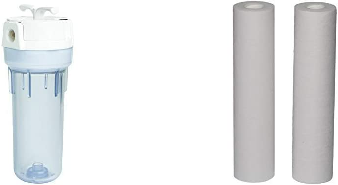 EcoPure EPW2VC Whole Water Filtration System Housing & Melt Blown Universal Whole Home Filter (2 Pack)
