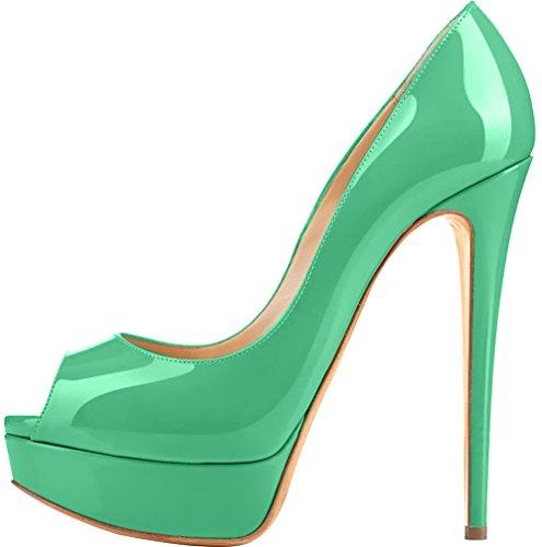 Trusify Mujer 15cm EU tamaño 34-46 Truthunder Tacón de aguja 15CM Sintético Sandalias de vestir Azul Darkcyan