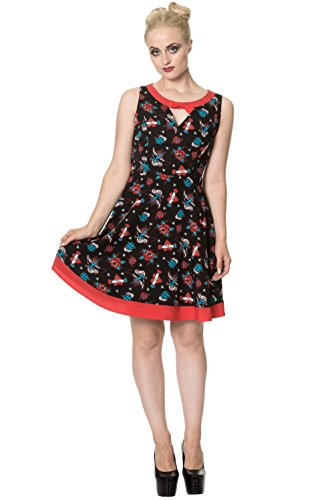 5212 DRESS BOW Banned REGRET Schwarz Kleid NOTHING w0R6BqX6