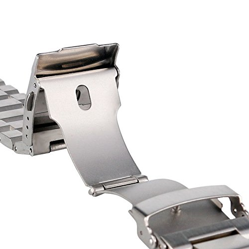 Stainless-Steel-Watch-Band-Brushed-Watch-Strap-202224mm-Double-Buckle-Bracelet-Black-Silver-Rose-Gold