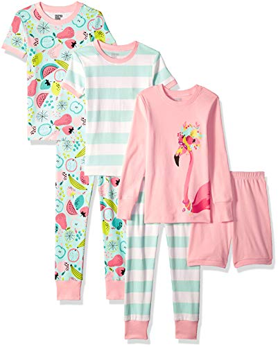(Spotted Zebra Big Kids' 6-Piece Snug-Fit Cotton Pajama Set, Tropical Flamingo, XX-Large (14))