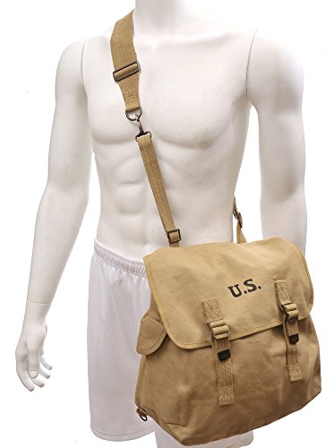 U.S. WW2 Style M1936 Musette Bag with Shoulder strap Khaki marked JT&L 1942