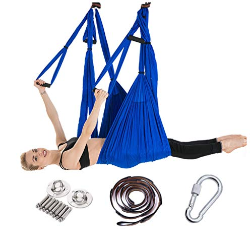C&Q CQ Aerial Yoga Hammock 6 Handle-Free, Hong Kong-Style Reverse Gravity Fitness Hammock with Extension Strap and Hanging Plate (Color : Blue) (Width Hammock)