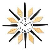 Relojes de Pared Metal decorativo con 25 pulgadas Reloj de pared de madera sin marco Reloj de cuarzo operado a batería artística con manecillas Árabe Número numeral silencioso Arte de la pared para la