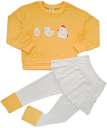 BomDeals Adorable Cute Toddler Baby Girls Clothes Set,Long Sleeve T-Shirt +Pants Outfit (Age(5T), Yellow)