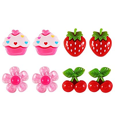 Toyvian Lovely Kids Clip-on Earrings Girls Play Ear Clips Dress-up Princess Party Favors 4 Pair: Toys & Games