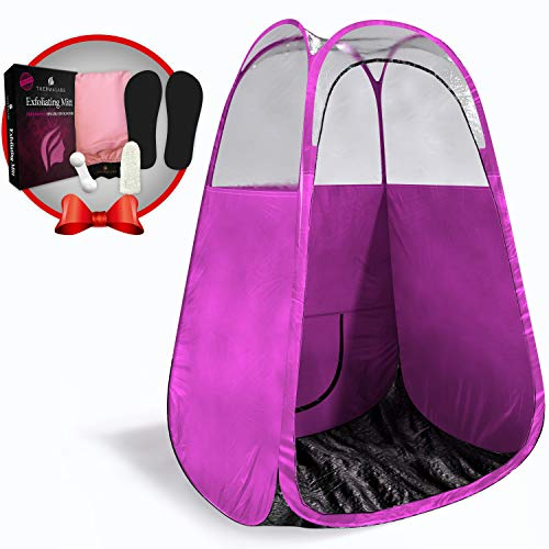 Spray Tan Tent (Pink) The Best, Bigger Than Others, Folds Easily in 30 Seconds and Has NO Logo On Tent Itself! Professional Sunless Tanning Pop-Up Spraying Booth for Airbrush Art, Makeup & Painting