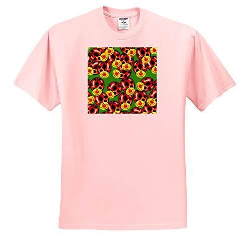 3dRose Russ Billington Patterns - Cute Smiley Face Ladybugs Pattern - T-Shirts - Adult Light-Pink-T-Shirt 3XL (ts_293782_39)