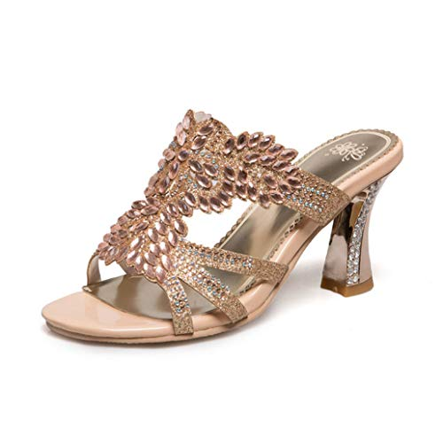 T-JULY Fashion Bling Crystal Women Mules High Heels Breathable Pumps Summer Leisure Shoes Woman Gold