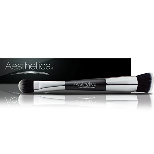 Aesthetica Cosmetics Double Ended Contour and Highlight Makeup Brush for Cream and Powder, Foundation, Blending, Contouring and Highlighting - Vegan and Cruelty Free ()