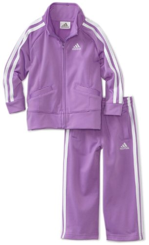 adidas Toddler Girls' Tricot Zip Jacket and Pant Set, Purple Basic, 3T
