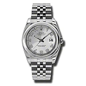 Rolex Oyster Perpetual Datejust36mm Stainless Steel Case, Domed Bezel, Silver Concentric Circle Dial, Arabic Numerals And Jubilee Bracelet.